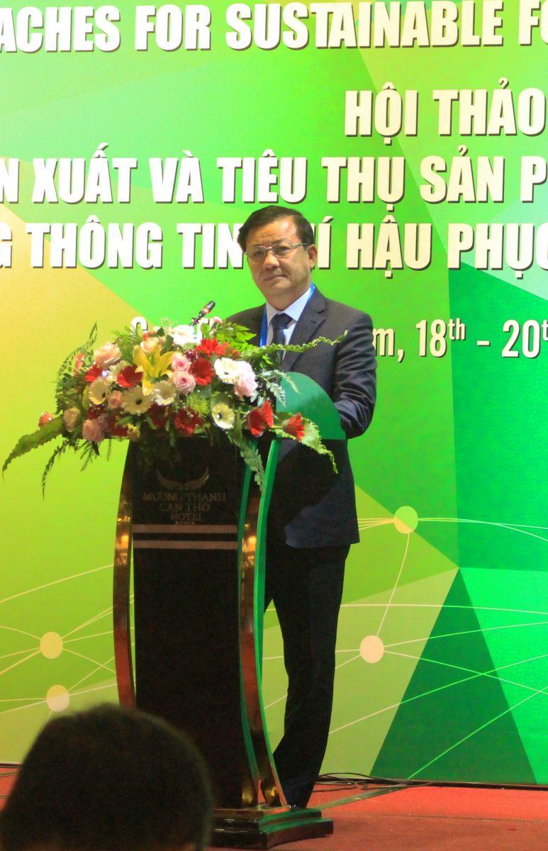 Phó Chủ tịch UBND TP Cần Thơ Đào Anh Dũng phát biểu chào mừng tại Hội thảo. Ảnh: MINH HUYỀN