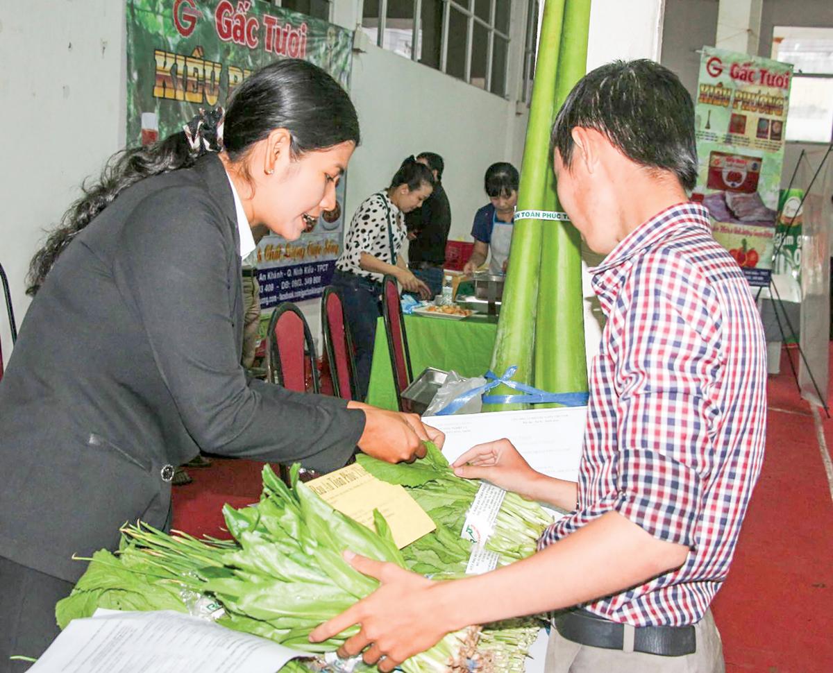 Hoạt động quảng bá sản phẩm rau an toàn của TP Cần Thơ tại hội nghị quảng bá thực phẩm an toàn do Trung tâm Xúc tiến Đầu tư - Thương mại và Hội chợ triển lãm Cần Thơ tổ chức.
