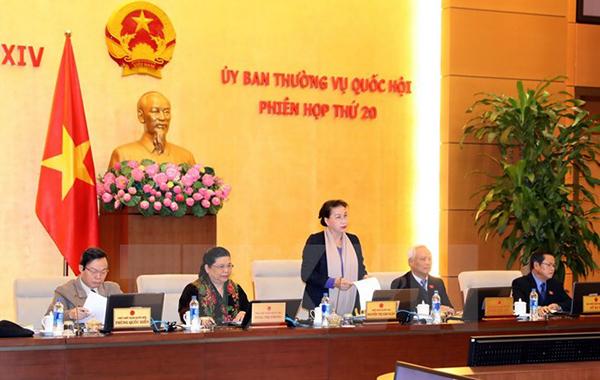 Chủ tịch Quốc hội Nguyễn Thị Kim Ngân chủ trì và phát biểu khai mạc Phiên họp thứ 20 của Ủy ban Thường vụ Quốc hội khóa XIV. Ảnh: TTXVN
