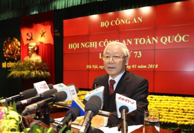 Tổng Bí thư Nguyễn Phú Trọng phát biểu tại Hội nghị. (Ảnh: TTXVN)