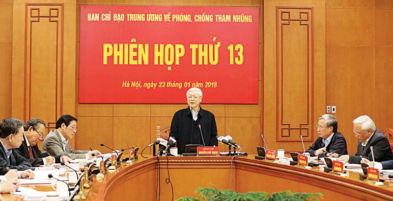 Tổng Bí thư Nguyễn Phú Trọng, Trưởng Ban Chỉ đạo Trung ương về phòng, chống tham nhũng chủ trì phiên họp. (Ảnh: Phương Hoa/TTXVN)