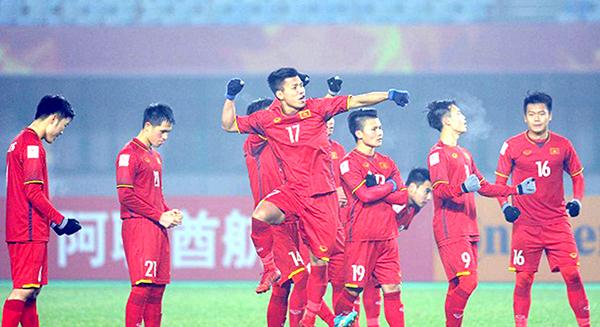 Niềm vui của các cầu thủ U23 Việt Nam trong loạt đá luân lưu thắng U23 Iraq, sẽ được tái diễn? Ảnh: Zing