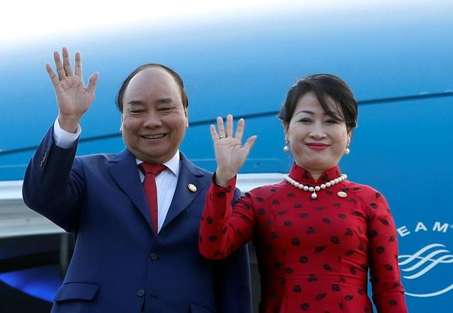 Lễ tiễn Thủ tướng Nguyễn Xuân Phúc và Phu nhân tại sân bay quân sự Palam, New Delhi. Ảnh: THỐNG NHẤT/TTXVN