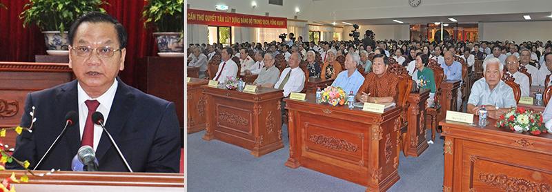 Đồng chí Trần Quốc Trung, Ủy viên Trung ương Đảng, Bí thư Thành ủy đọc diễn văn tại Lễ kỷ niệm. Ảnh: ANH DŨNG