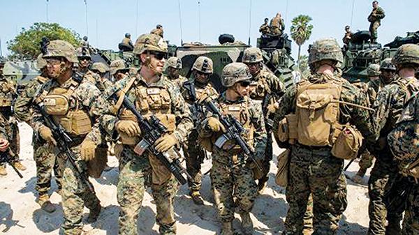 Đơn vị thủy quân lục chiến Mỹ tham gia tập trận đổ bộ tại Thái Lan năm 2017. Ảnh: AFP