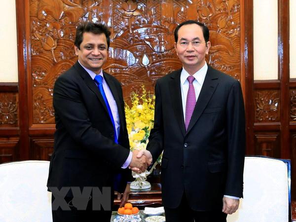 Chủ tịch nước Trần Đại Quang tiếp ông Indronil Sengupta, Tổng Giám đốc TATA tại Việt Nam. Ảnh: NHAN SÁNG/TTXVN