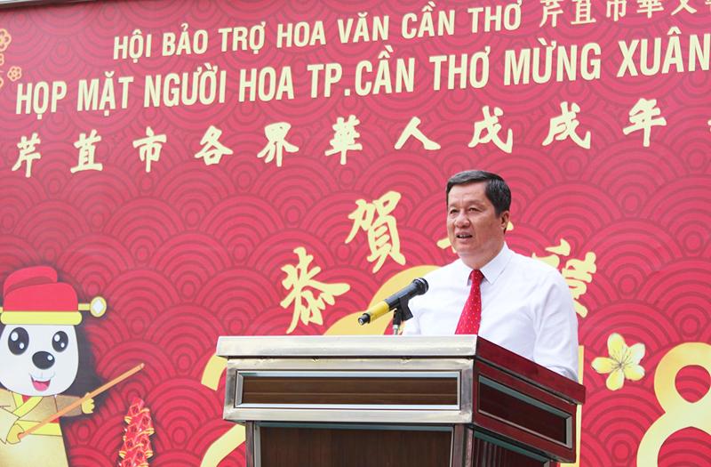 Ông Phạm Văn Hiểu phát biểu tại buổi họp mặt. Ảnh: ANH KHOA