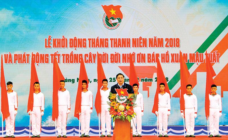 Đồng chí Phạm Minh Chính, Ủy viên Bộ Chính trị, Trưởng Ban Tổ chức Trung ương dự và phát biểu tại buổi lễ. Ảnh: VĂN ĐỨC – TTXVN