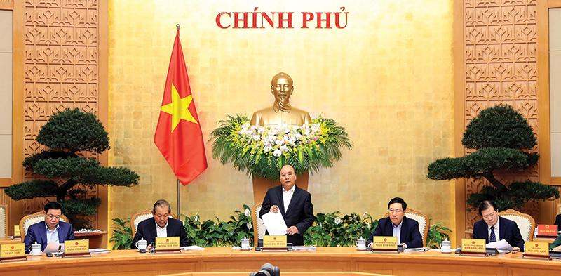 Thủ tướng Nguyễn Xuân Phúc chủ trì Phiên họp Chính phủ thường kỳ tháng 2 năm 2018. Ảnh: THỐNG NHẤT – TTXVN