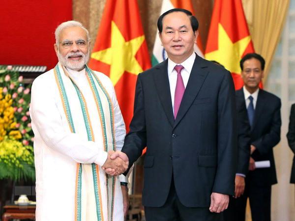 Chủ tịch nước Trần Đại Quang tiếp ngài Narendra Modi, Thủ tướng Ấn Độ nhân chuyến thăm của Thủ tướng Ấn Độ tới Việt Nam tháng 9-2016. Ảnh: NHAN SÁNG/TTXVN