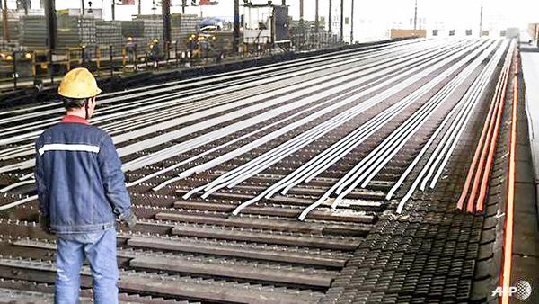 Sản xuất thép ở Trung Quốc. Ảnh: AFP