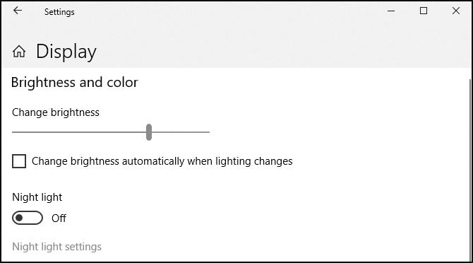 Giao diện điều chỉnh ánh sáng tùy ý trong Windows 10.