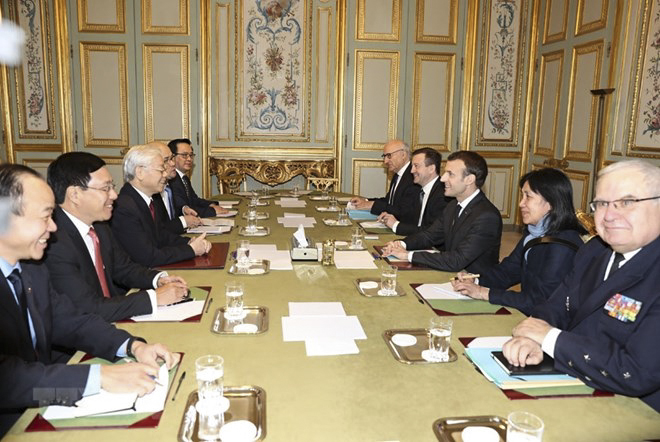 Tổng Bí thư Nguyễn Phú Trọng hội đàm với Tổng thống Cộng hòa Pháp Emmanuel Macron. Ảnh: TRÍ DŨNG-TTXVN