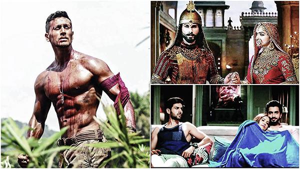 Baaghi 2 (trái), Padmaavat (phải, trên) và Sonu Ke Titu Ki Sweety - những phim Bollywood ăn khách đầu năm 2018.