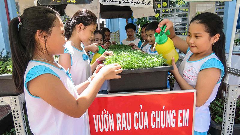Học sinh Trường Tiểu học Trần Hưng Đạo thích thú khi chăm sóc vườn rau. Ảnh: BÍCH KIÊN