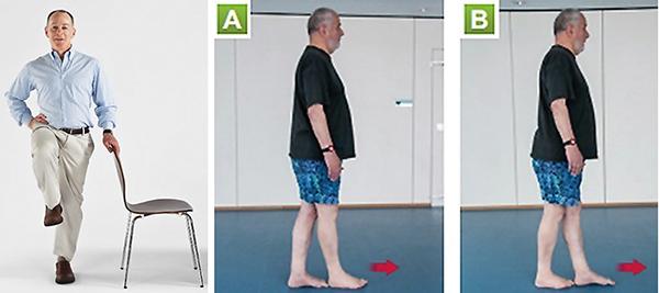 Thực hiện các bài tập giữ thăng bằng (trái) hay đi bộ kiểu nối bằng gót và đầu ngón chân (phải) tốt cho bệnh nhân loãng xương. Ảnh: Harvard Heal
