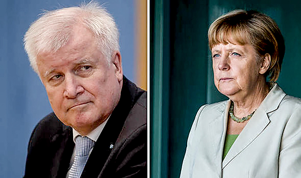 Ông Horst Seehofer và bà Angela Merkel. Ảnh: Daily Express