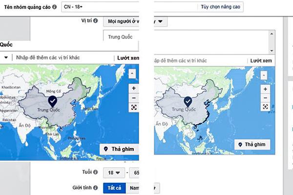 Bản đồ của Facebook phần lãnh thổ Trung Quốc trước và sau khi sửa lỗi. Ảnh chụp ngày 1-7 và 2-7: Vietnam+