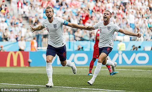 """""""Những chú sư tử trẻ"""" Anh sẽ tiếp tục thi đấu thăng hoa trước Colombia. Ảnh: Daily Mail"""