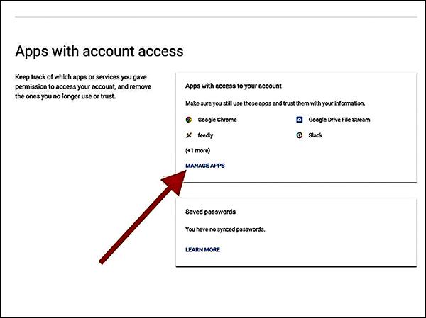 Giao diện kiểm tra các ứng dụng truy cập tài khoản Gmail.
