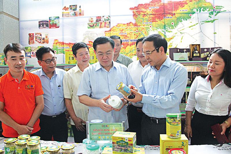 Phó Thủ tướng Vương Đình Huệ xem sản phẩm tiêu biểu của từng địa phương. Ảnh: TÙNG LÂM - TTXVN