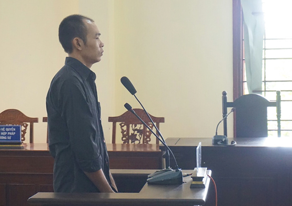 Bị cáo Huy tại tòa sơ thẩm.