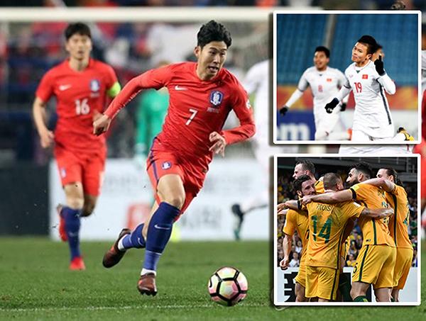 Son Heung Min (trái), Quang Hải của Việt Nam (ảnh trên bên phải) và các cầu thủ Úc hứa hẹn mang đến Cúp châu Á 2019 nhiều trận cầu hấp dẫn. Ảnh: AFC