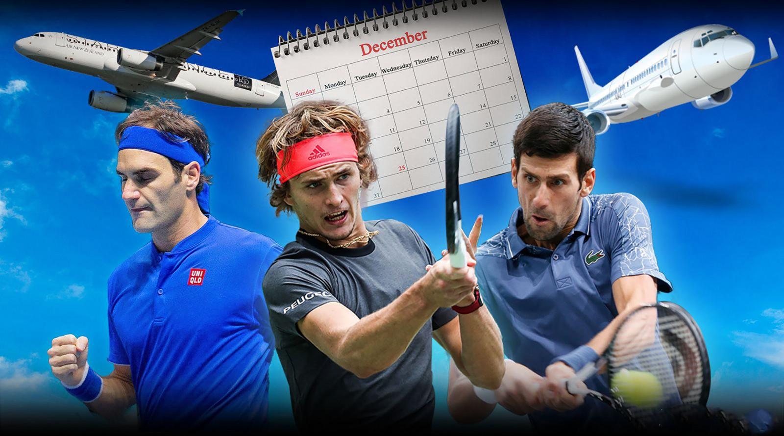 Cuộc đấu của Ferderer, tay vợt trẻ Alex Zverev và Djokovic (từ trái qua) hứa hẹn gay cấn trong năm 2019.