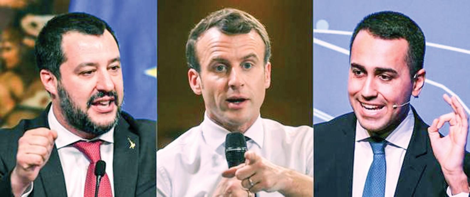 Tổng thống Pháp Macron (giữa) cùng hai phó thủ tướng Ý Salvini (trái) và Di Maio. Ảnh: AFP