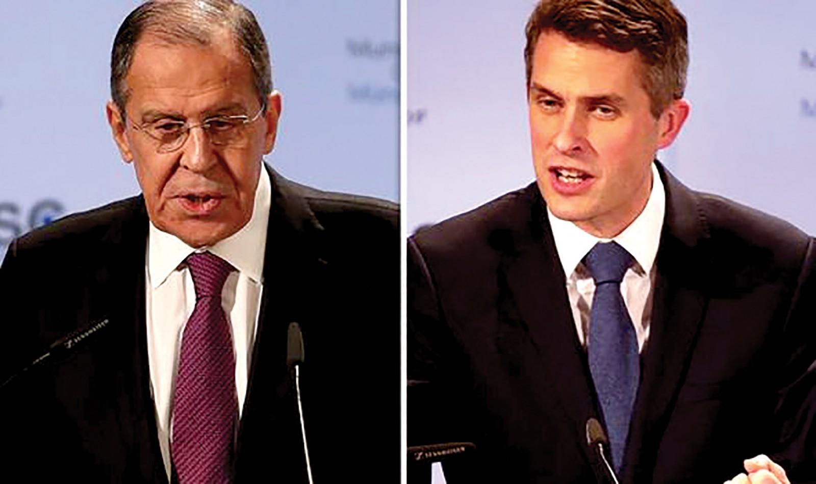 Ngoại trưởng Nga Lavrov (trái) và Bộ trưởng Quốc phòng Anh Williamson. Ảnh: Getty