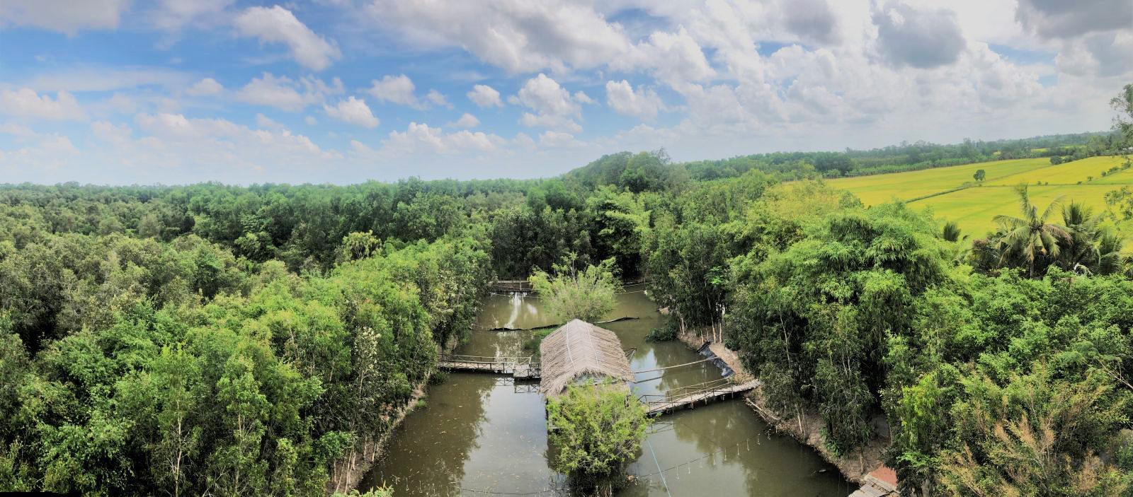Nhìn từ tháp canh, Khu du lịch sinh thái Lung Ngọc Hoàng rợp một mùa xanh bởi hàng trăm héc-ta rừng tràm xen lẫn những cánh đồng lúa đương làm đòng, tạo nên khung cảnh thanh bình, yên ả, níu chân du khách