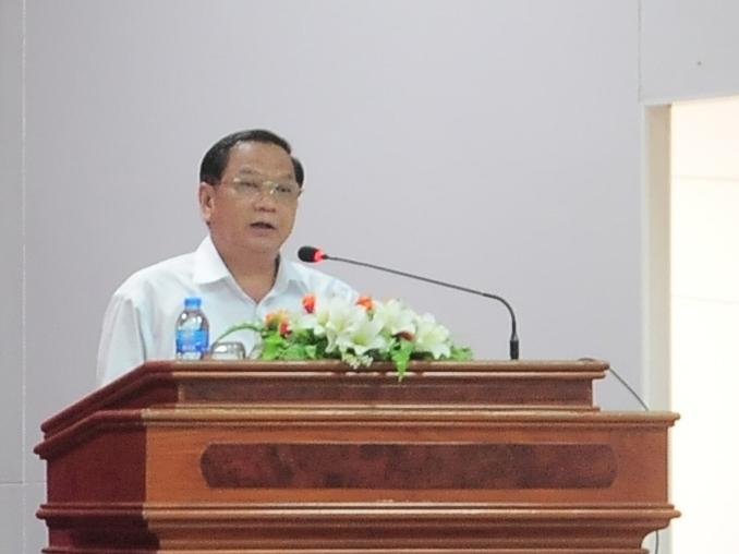 Đồng chí Trần Quốc Trung, Ủy viên Trung ương Đảng, Bí thư Thành ủy Cần Thơ phát biểu chỉ đạo Hội nghị. Ảnh: KIỀU CHINH