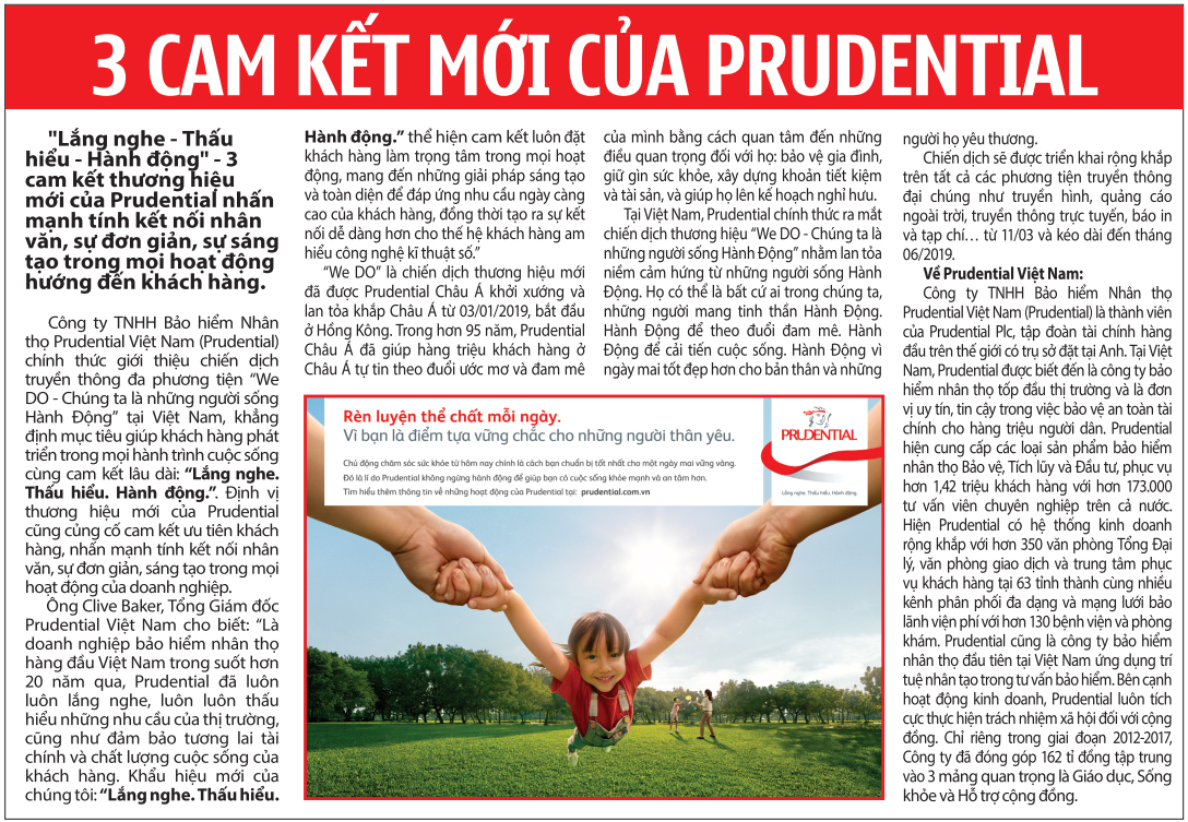 3 cam kết mới của Prudential