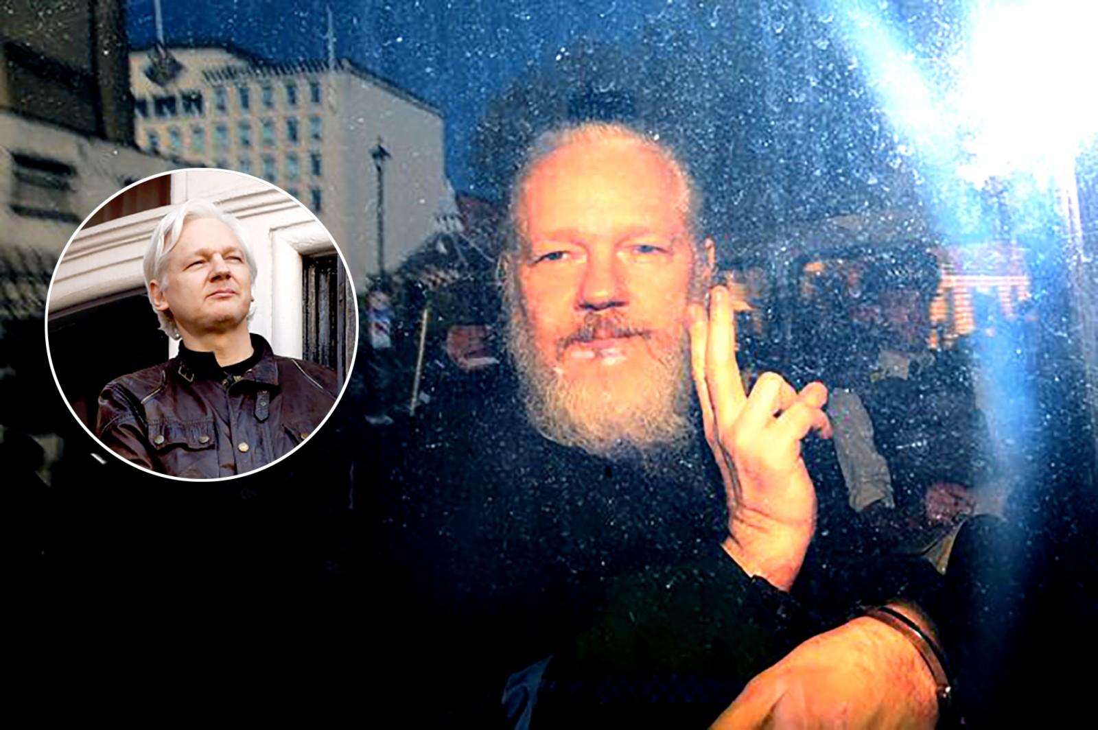 Nhà sáng lập WikiLeaks Assange trước và sau gần 7 năm sống tị nạn. Ảnh: AP và Getty Images