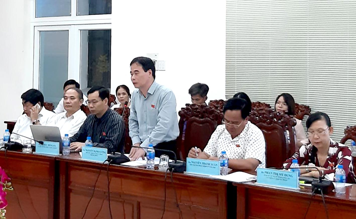 Đồng chí Nguyễn Mạnh Cường, Phó Chủ nhiệm Ủy ban Tư pháp của Quốc hội phát biểu tại buổi giám sát. Ảnh: P.N