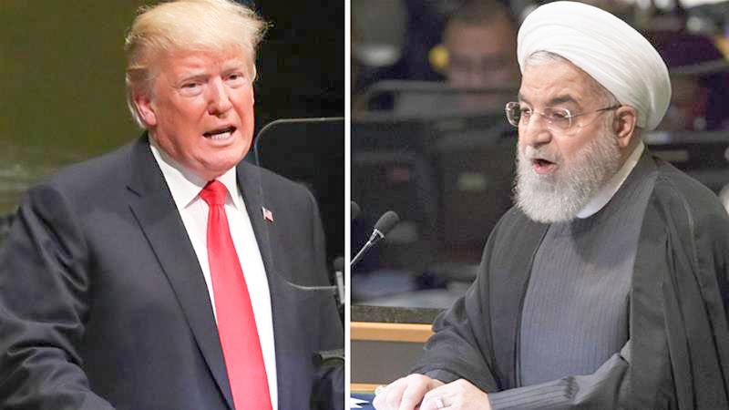 Ông Trump (trái) và ông Rouhani.