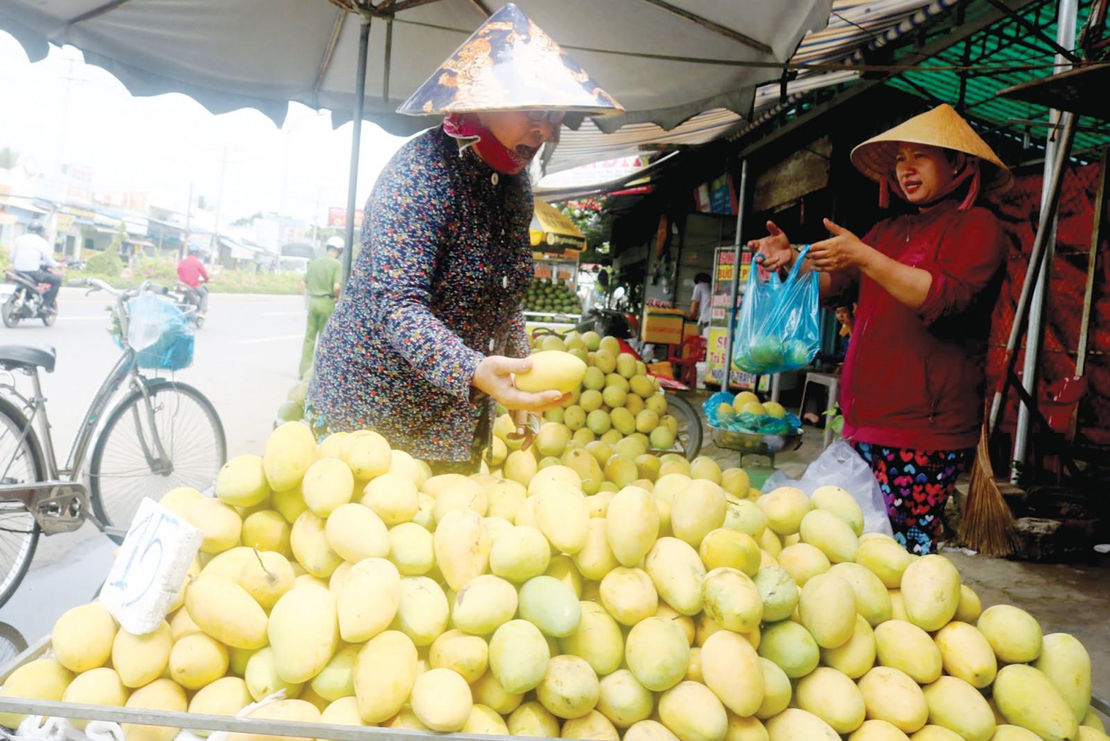 Mua bán trái cây tại một điểm kinh doanh trái cây ở quận Ninh Kiều, TP Cần Thơ. Ảnh: KHÁNH TRUNG