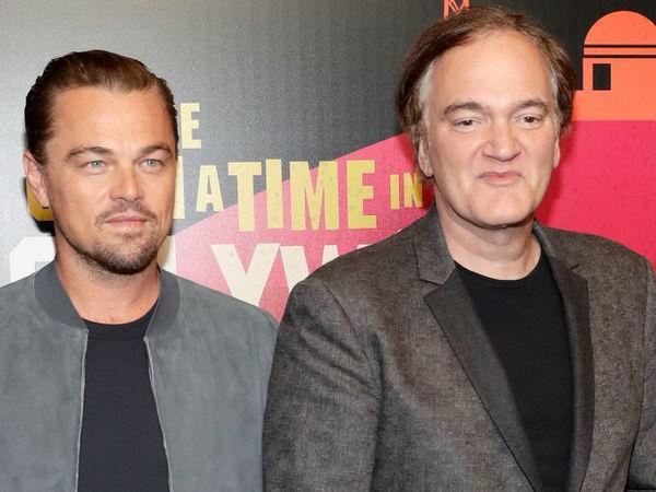 """Quentin Tarantino (phải) cùng nam diễn viên Leonardo DiCaprio quảng bá cho phim """"Once Upon a Time""""."""