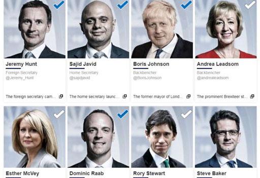 Một số ứng viên ra tranh chức tân lãnh đạo đảng Bảo thủ và sẽ kế nhiệm Thủ tướng May. Ảnh: BBC