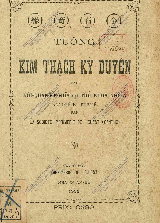 """Bìa quyển in bổn tuồng """"Kim Thạch kỳ duyên"""" do """"Imprimerie de l'Ouest"""" ấn tống. Ảnh tư liệu"""