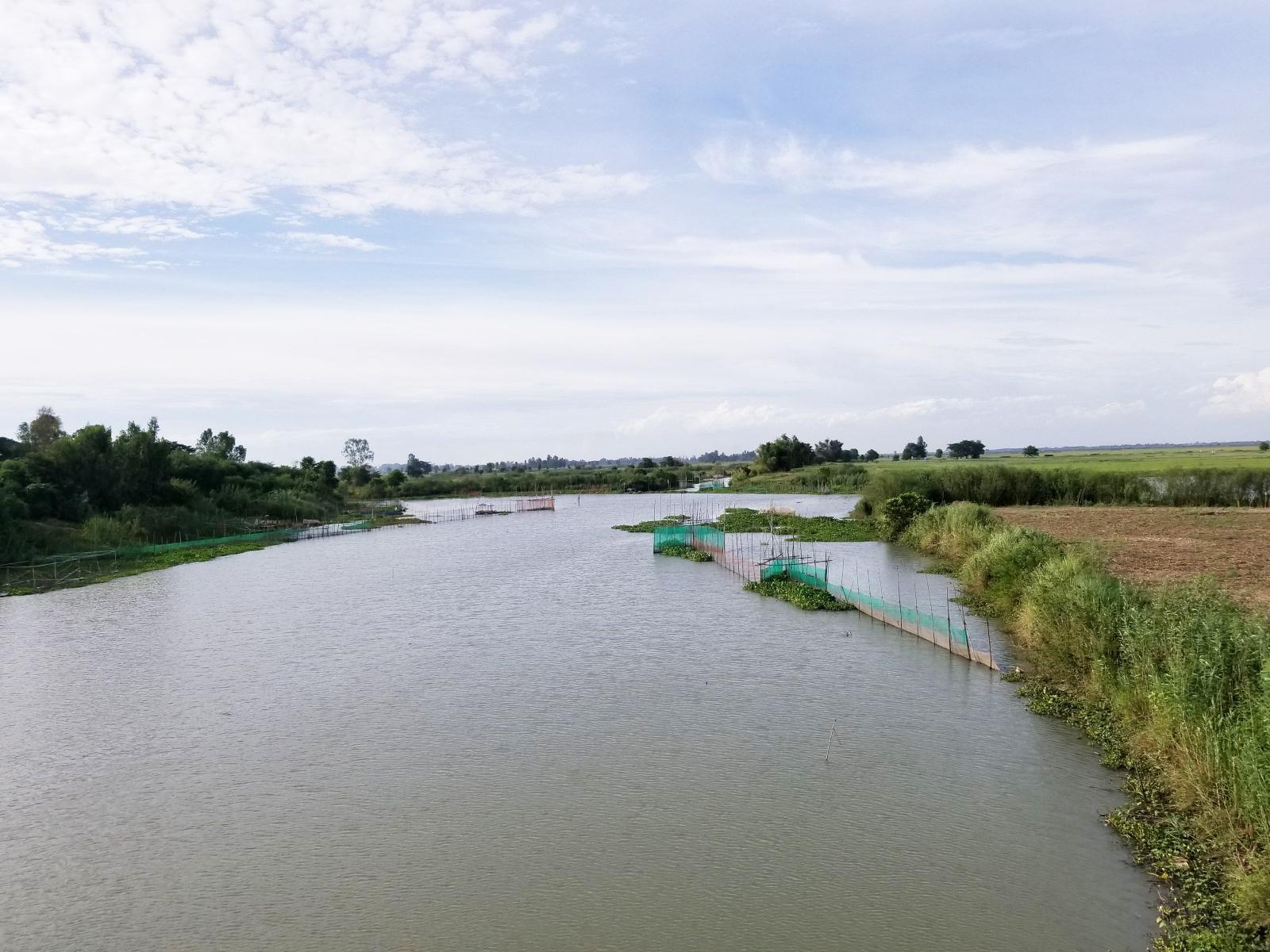 Tuyến kinh Bảy Xã - nơi lũ về sớm nhất ở An Giang đến giờ nước vẫn thấp hơn mặt ruộng phía trên rất nhiều. Ảnh: Bình Nguyên