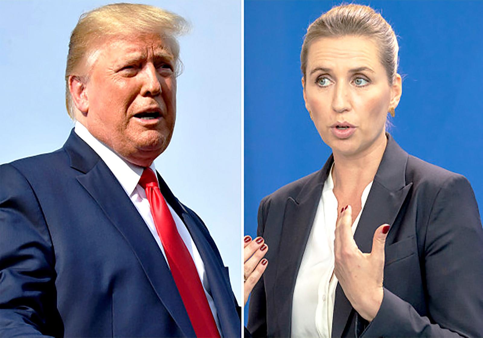Tổng thống Trump (trái) và Thủ tướng Đan Mạch Frederiksen. Ảnh: Getty Images