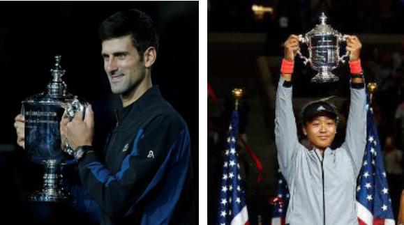Sẽ không dễ dàng để Djokovic (trái) và Osaka bảo vệ được ngôi vô địch tại Giải Mỹ Mở rộng 2019.