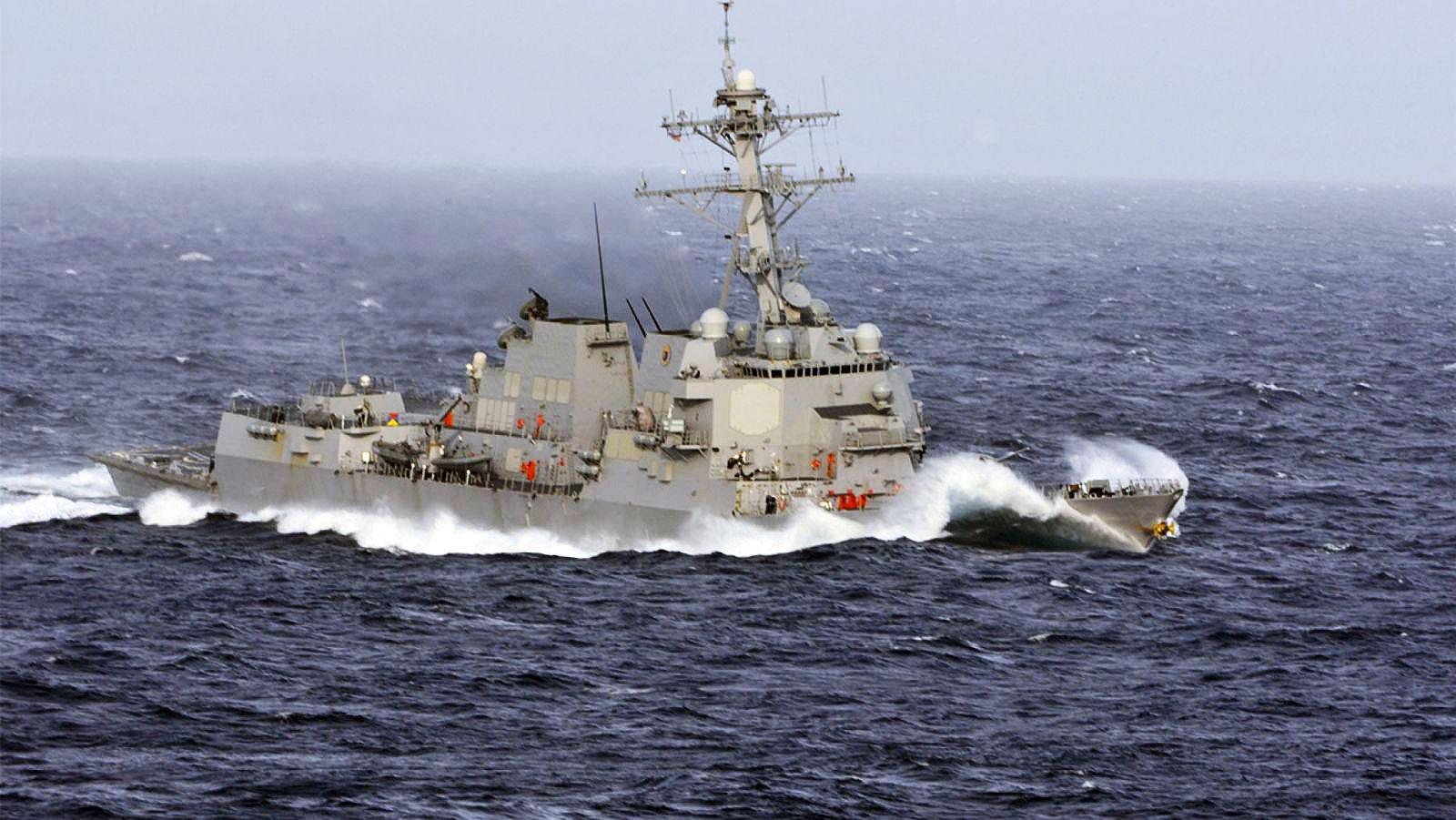 Tàu khu trục Wayne E. Meyer của Mỹ tuần tra trên Biển Đông. Ảnh: U.S. Navy