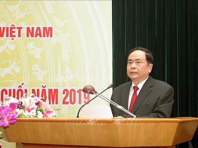 Chủ tịch Ủy ban Trung ương MTTQ Việt Nam Trần Thanh Mẫn phát biểu tại hội nghị. Ảnh: Nguyễn Dân/TTXVN