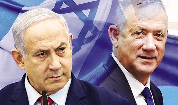 Thủ tướng Netanyahu (trái) và đối thủ Benny Gantz. Ảnh: Daily Express