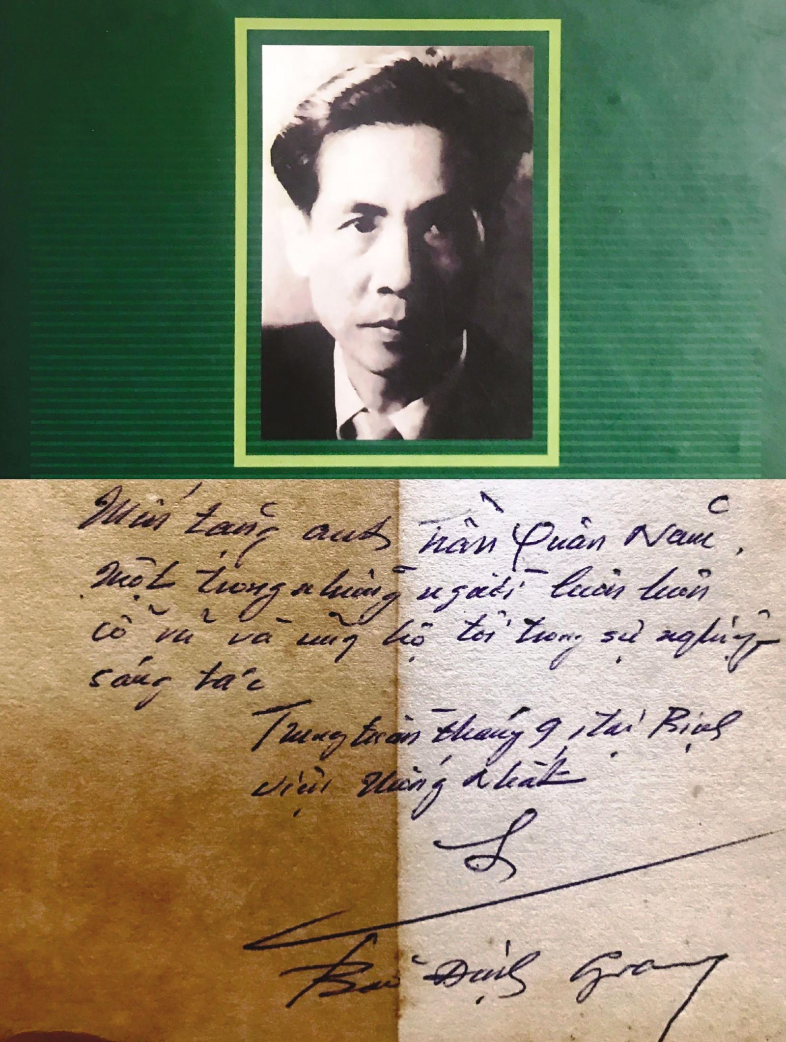 """Chân dung """"nhà thơ - ca dao"""" Bảo Định Giang và thủ bút của ông do tác giả bài viết sưu tầm."""