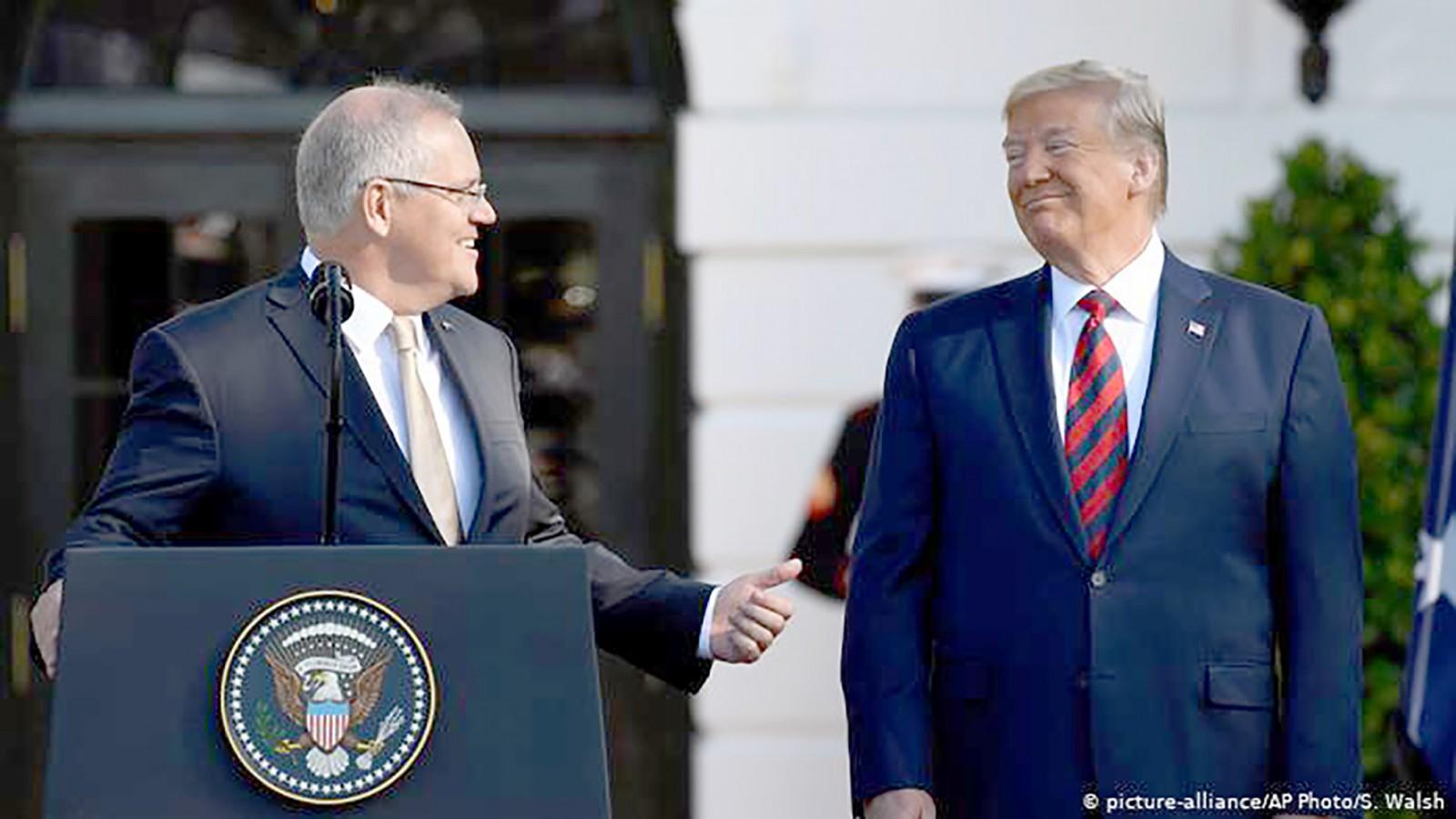 Tổng thống Trump (phải) và Thủ tướng Úc Morrison. Ảnh: AP
