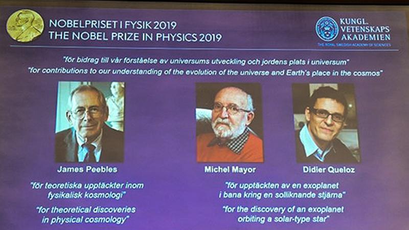 Các nhà khoa học được trao giải Nobel Vật lý năm 2019. Ảnh: AFP