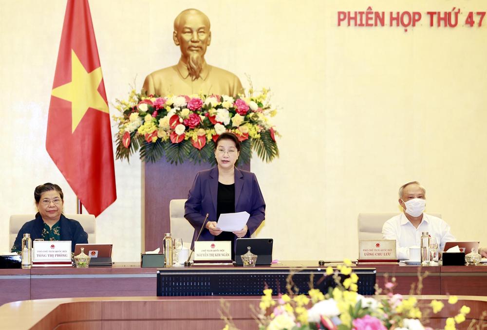 Chủ tịch Quốc hội Nguyễn Thị Kim Ngân phát biểu. Ảnh: TRỌNG ĐỨC - TTXVN